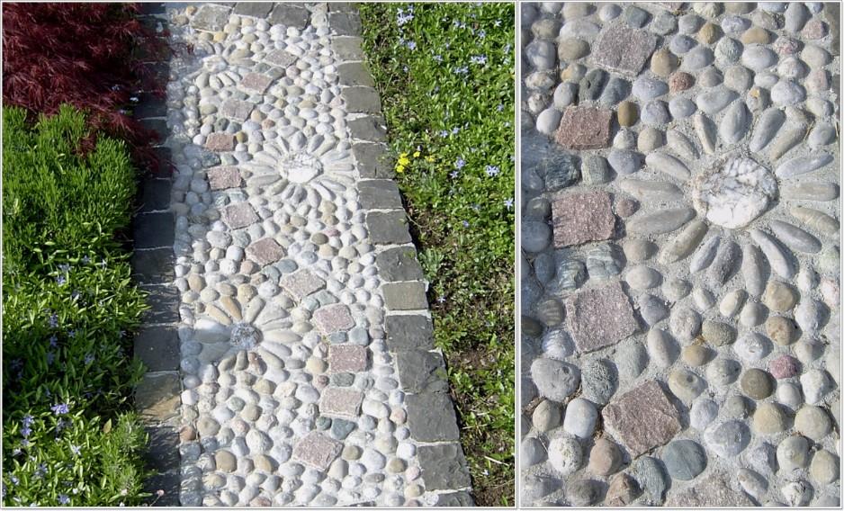 Pflastersteine Runde Muster : Weg mit Flusssteinen Blume, runde und längliche Flusssteine mit Manga
